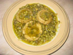 Λεμονάτες αγκινάρες με αρακά - Συνταγή - ηχωμαγειρέματα