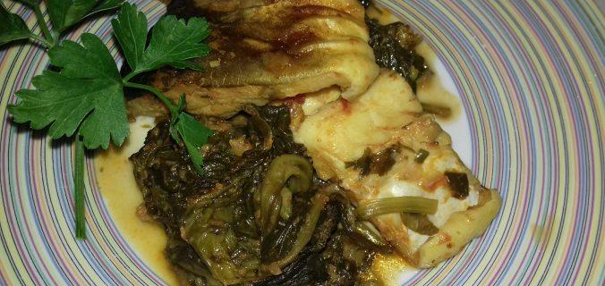 Μπακαλιάρος με σπανάκι στο φούρνο - 47 - συνταγή ηχωμαγειρέματα