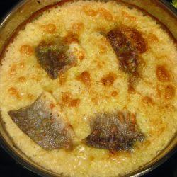 Μπακαλιάρος με ρύζι στο φούρνο
